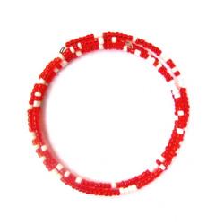 Гривна мъниста 3 реда бели и червени тел -12 броя