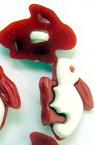 Копче пластмаса заек 21x15x5 мм дупка 2 мм бяло и червено -10 броя