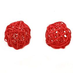 Rattan Ball, Wooden, Decoration, Craft Projects, DIY Light 50 mm red - 2 pieces
