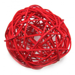 Rattan Ball, Wooden, Decoration, Craft Projects, DIY Light 100 mm red
