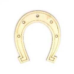Wooden Horseshoe 56x68 mm hole 3 mm - 5 pieces