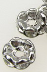 Jewelry metal components, separator washer shape with crystals zig zag 6x3 mm hole 1.5 mm color silver - 10 pieces