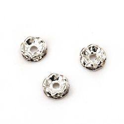 Шайба метал с кристали бели зиг заг 6x3 мм дупка 1.5 мм (качество А) цвят бял-10 броя