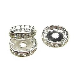 Jewelry metal findings, washer shape with crystals 12x4 mm hole 2 mm (quality A) color white - 10 pieces