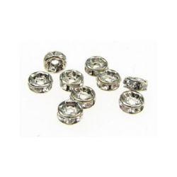 Шайба метал с кристали 4x2 мм дупка 1 мм (качество А) цвят бял -10 броя