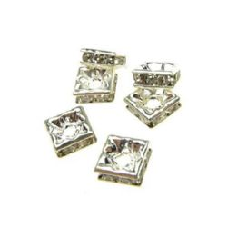 Jewelry findings, square metal separator 6x3 mm hole 2 mm color white -10 pieces