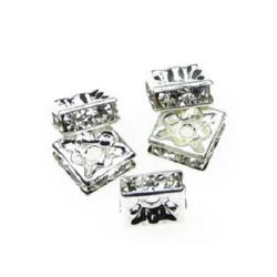 Jewelry findings, square metal separator with crystals 8 mm white -10 pieces
