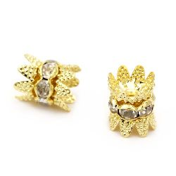 Metal washer with crown crystals for handmade8 mm hole 1.5 mm (quality A) color gold -5 pieces