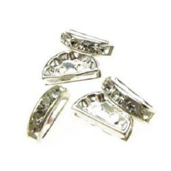 Полукръг метал с кристали 12x7x3 мм с 2 дупки 1 мм цвят бял -10 броя