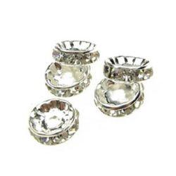 Шайба метал с кристали 10x3.5 мм дупка 1.5 мм (качество А) цвят бял -10 броя