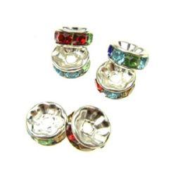Шайба метал с АСОРТЕ кристали 7x3 мм дупка 1 мм цвят бял -10 броя
