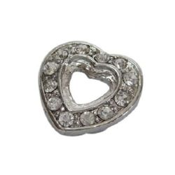 Metal bead in heart shape with shiny crystals 15x15x5 mm silver