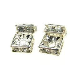 Квадрат метал с кристали 6x6x3 мм дупка 1 мм (качество А) цвят сребро -4 броя