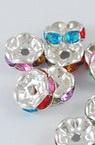 Шайба метал с цветни кристали 8x3.5 мм дупка 2 мм цвят сребро -10 броя
