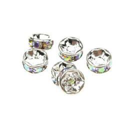 Șaibă metalică cu cristale de arc 8x3,5 mm gaură 1,5 mm (calitate A) culoare alb -10 bucăți