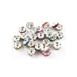 Шайба метал с цветни кристали 6 мм дупка 0.7 мм цвят сребро -10 броя