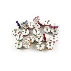 Metal divider, washer beads with tiny colored crystals 7 mm hole 0.9 mm color silver - 10 pieces