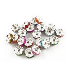 Șaibă metalică cu cristale colorate 8 mm gaură 1,2 mm culoare argintiu -4 bucăți