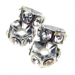 Шайба метал с кристали 5.5x3 мм дупка 1.2 мм цвят сребро -4 броя