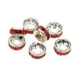 Шайба метал с кристали червени 6 мм цвят бял -10 броя