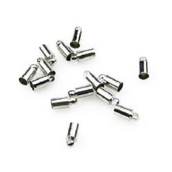 Накрайник метал объл 9x4 мм дупка 3.5 мм с халка дупка 1.5 мм цвят сребро -20 броя