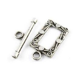 Закопчалка метална две части 17.5x18x27 мм дупка 2.5 мм цвят сребро -5 комплекта