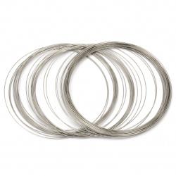 Тел за гердани 115x0.6 мм цвят сребро -50 навивки ~49 грама