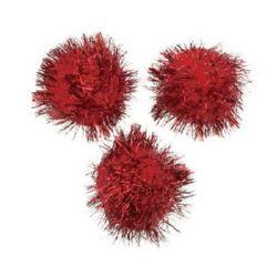 Pomponi  cu lame 34,5 mm roșu -10 bucăți