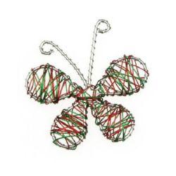 Sârmă fluture 65 mm argintiu, verde și roșu