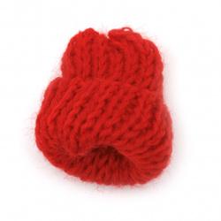 Елемент плетен за декорация шапка 35x30 мм цвят червен - 5 броя