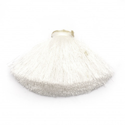 Полупомпон полиамид за декорация тип кабошон 100x50 мм цвят бял
