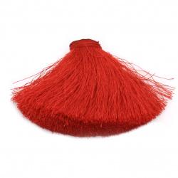 Poliamidă semi-pompom pentru decorare tip cabochon 100x50 mm culoare roșie