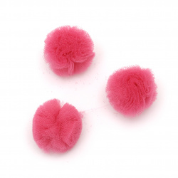 Помпони тюл 20 мм цвят тъмно розов -10 броя