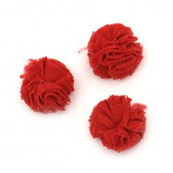 Помпони тюл еластичен 20 мм цвят червен -10 броя