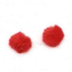 Помпони еко кожа 25 мм цвят червен -2 броя
