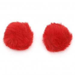Помпони еко кожа 40 мм цвят червен -2 броя