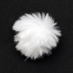 Помпони еко кожа 55 мм цвят бял -2 броя