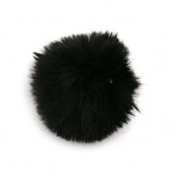 Помпони еко кожа 55 мм цвят черен -2 броя