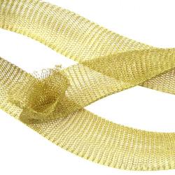 Ширит плетен тел медна 20 мм злато