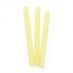 Silicone Hot Melt Glue Stick 7x100 mm with yellow brocade -5 pieces