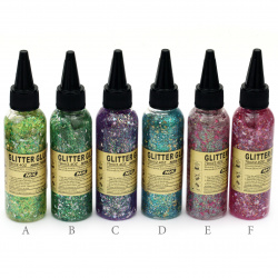 Glitter Glue Non-Toxic Decoration DIY 70 ml assorted rainbow colors