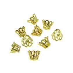 Καπελάκια χάντρας 5x6 mm μεταλλικά, χρυσό -50 τεμάχια