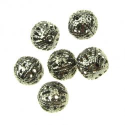 Мънисто метал топче 8 мм цвят инокс -50 броя