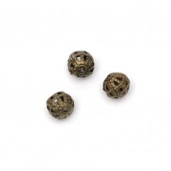 Мънисто метал топче 6 мм цвят антик бронз -50 броя