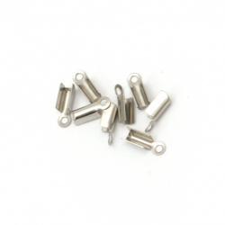Накрайник стомана 8x3 мм объл сгъваем цвят сребро -20 броя