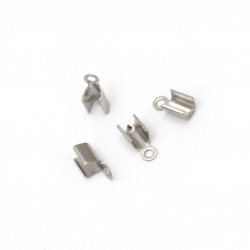 Накрайник стомана 6x3 мм объл сгъваем цвят сребро -20 броя