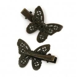 Κοκαλάκι για μαλλιά με πεταλούδα  38x27 mm παλαιωμένο  χρυσό -2 τεμάχια