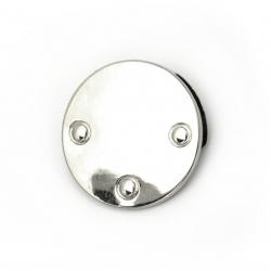 Метален аксесоар за декорация на дрехи и чанти кръг цвят сребро 25 мм