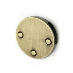 Метален аксесоар за декорация на дрехи и чанти кръг цвят античен бронз 25 мм