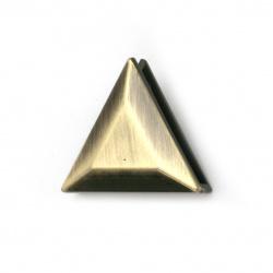 Метален аксесоар за декорация на дрехи и чанти триъгълник цвят античен бронз 23 мм